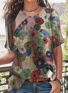 Bluzka Cikelly w stylu casual z okrągłym dekoltem z bawełny