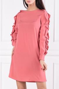 Różowa sukienka Twinset z długim rękawem z jedwabiu z okrągłym dekoltem