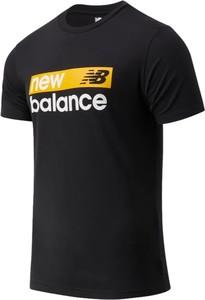 Czarny t-shirt New Balance z krótkim rękawem z dżerseju