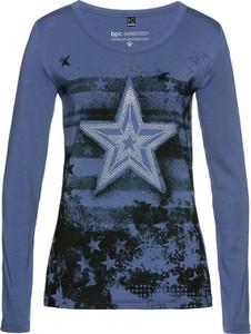 Niebieski t-shirt bonprix bpc selection z długim rękawem