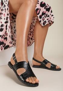 Czarne sandały Renee z płaską podeszwą z klamrami ze skóry