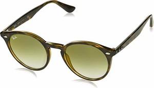 amazon.de Okulary przeciwsłoneczne Ray-Ban Round RB 2180 Havana/Green tekst cieniowany męskie okulary