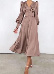 Brązowa sukienka Cikelly midi z dekoltem w kształcie litery v z długim rękawem