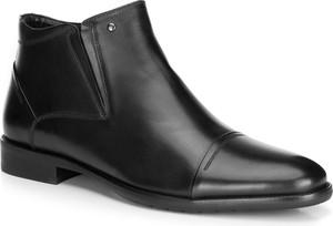 Czarne buty zimowe Wittchen ze skóry