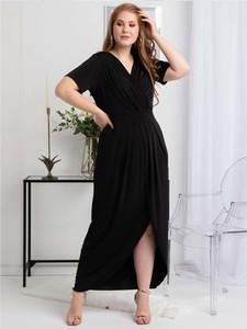 Sukienka KARKO z tkaniny maxi kopertowa
