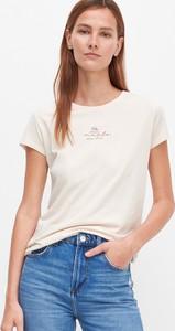 T-shirt Reserved z krótkim rękawem z bawełny z okrągłym dekoltem