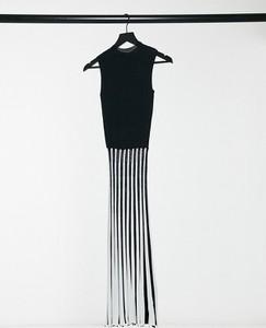 Czarna sukienka Lipsy z okrągłym dekoltem maxi ołówkowa