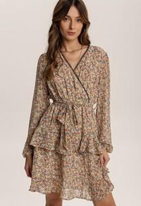 Brązowa sukienka Renee z długim rękawem z dekoltem w kształcie litery v w stylu casual