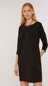 Czarna sukienka FEMESTAGE Eva Minge z bawełny w stylu casual z długim rękawem