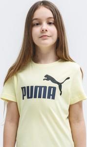 Żółty t-shirt Puma z krótkim rękawem z okrągłym dekoltem