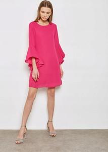 Różowa sukienka Dorothy Perkins trapezowa z okrągłym dekoltem mini