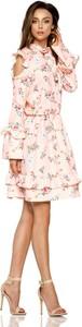 Różowa sukienka TAGLESS z długim rękawem mini