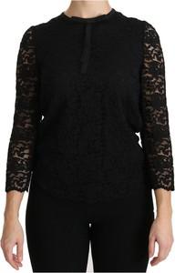 Czarna bluzka Dolce & Gabbana z długim rękawem z okrągłym dekoltem
