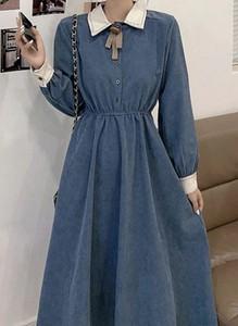 Niebieska sukienka Arilook z długim rękawem midi