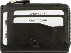 Czarny portfel męski Koruma na karty kredytowe ze skóry