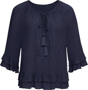 Niebieska bluzka bonprix BODYFLIRT w stylu boho z długim rękawem