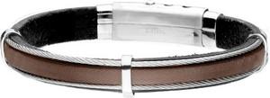 Manoki BA762A brązowa skórzana bransoleta męska czarna z linkami