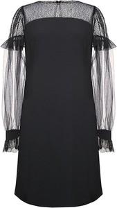 Czarna sukienka Moda Su z dekoltem w łódkę