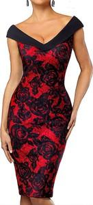 Czerwona sukienka Arilook z dekoltem w kształcie litery v dopasowana z krótkim rękawem