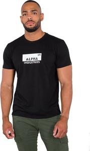 Czarny t-shirt Alpha Industries z krótkim rękawem