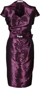 Sukienka Fokus asymetryczna midi z krótkim rękawem