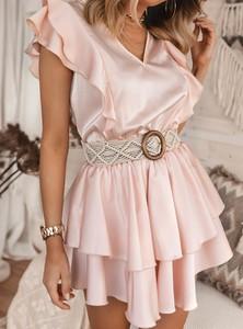Różowa sukienka SELFIEROOM mini rozkloszowana z krótkim rękawem