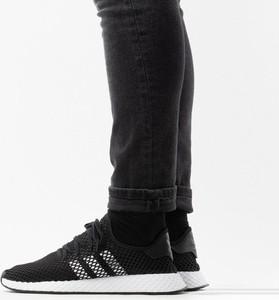 Czarne buty sportowe Adidas Originals deerupt z płaską podeszwą sznurowane
