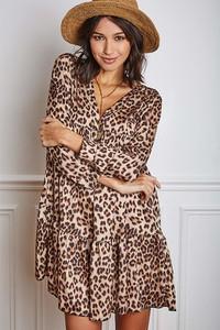 Sukienka Vanille & Chocolat z długim rękawem z dekoltem w kształcie litery v
