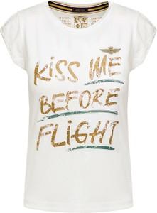 T-shirt Aeronautica Militare z krótkim rękawem w militarnym stylu z bawełny