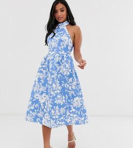 Niebieska sukienka Asos midi z dekoltem halter bez rękawów