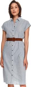 Sukienka Top Secret z krótkim rękawem w stylu casual z kołnierzykiem