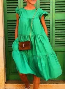 Zielona sukienka Sandbella z krótkim rękawem z okrągłym dekoltem