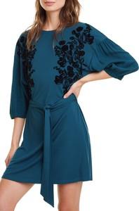 Niebieska sukienka Desigual mini trapezowa z długim rękawem