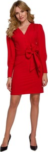 Czerwona sukienka Makover mini z tkaniny