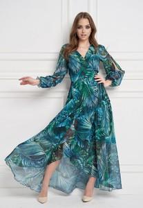 Zielona sukienka Ella Boutique z długim rękawem z dekoltem w kształcie litery v maxi