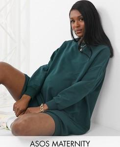 ASOS DESIGN Maternity – Ciemnozielona sukienka dresowa oversize-Zielony