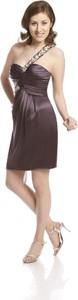 Brązowa sukienka Fokus bez rękawów z asymetrycznym dekoltem mini