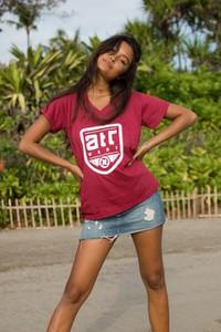 Czerwony t-shirt Atr Wear z bawełny w młodzieżowym stylu