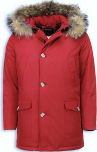 Czerwona kurtka ENOS długa w stylu casual