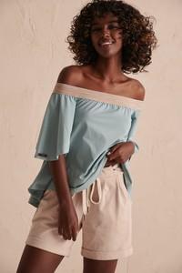 Bluzka Blue Shadow w stylu casual z dresówki z długim rękawem