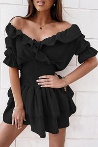 Sukienka IVET z dekoltem w kształcie litery v z krótkim rękawem