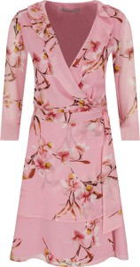 Różowa sukienka Marella kopertowa z dekoltem w kształcie litery v w stylu casual