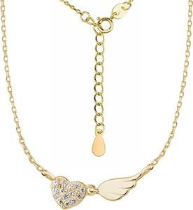 Valerio Pozłacany srebrny naszyjnik gwiazd celebrytka skrzydło anioła wing serce heart cyrkonie srebro 925 Z1452N_G