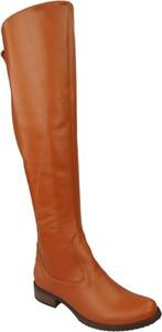 Pomarańczowe kozaki Jankobut w stylu casual przed kolano z płaską podeszwą