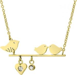 Manoki Złoty naszyjnik z motywem ptaków, cyrkonia