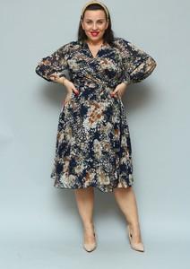 Sukienka KARKO z dekoltem w kształcie litery v z długim rękawem z szyfonu