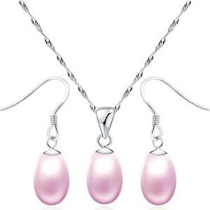 IZMAEL.eu Zestaw perłowy ŁZA - Różowy