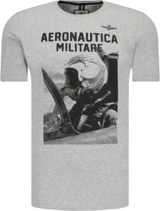 T-shirt Aeronautica Militare z krótkim rękawem z nadrukiem w młodzieżowym stylu