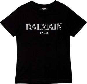 Czarna koszulka dziecięca Balmain z krótkim rękawem
