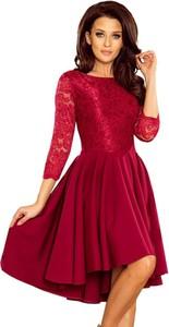 Czerwona sukienka NUMOCO asymetryczna z długim rękawem mini